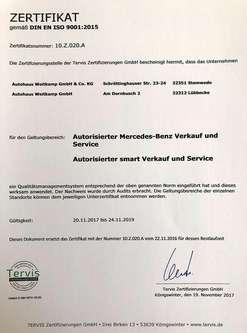 Zertifizierung DIN EN ISO 9001:2015.
